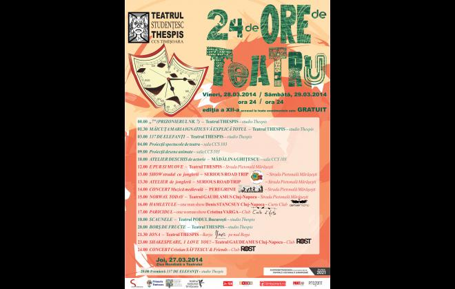 Poster 24 hours of theatre Thespis Timisoara